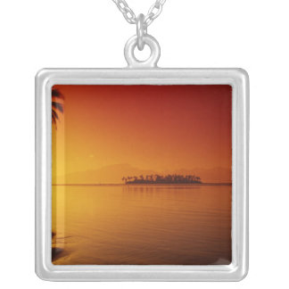 FRENCH POLYNESIA, Moorea. Sunset. Silver Plated Necklace