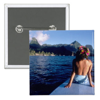 French Polynesia, Moorea. Woman enjoying view on 15 Cm Square Badge