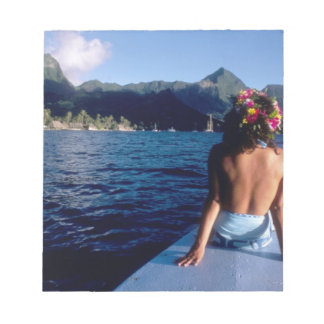 French Polynesia, Moorea. Woman enjoying view on Notepad