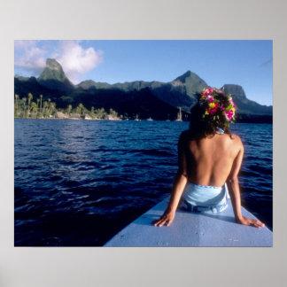 French Polynesia, Moorea. Woman enjoying view on Poster