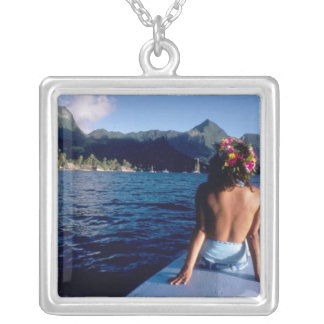 French Polynesia, Moorea. Woman enjoying view on Silver Plated Necklace