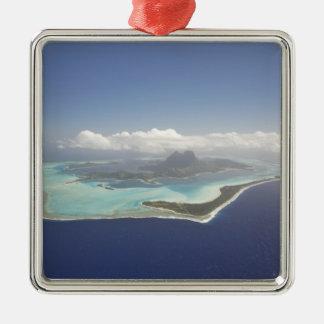French Polynesia, Tahiti, Bora Bora. The Silver-Colored Square Decoration