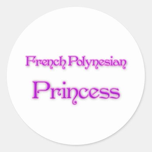 French Polynesian Princess Round Stickers