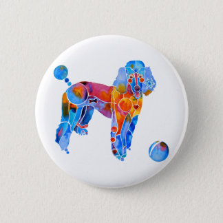 French Poodle 6 Cm Round Badge