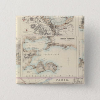 French Portsand Harbours and Plan of Paris 15 Cm Square Badge