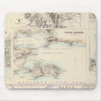French Portsand Harbours and Plan of Paris Mouse Mat