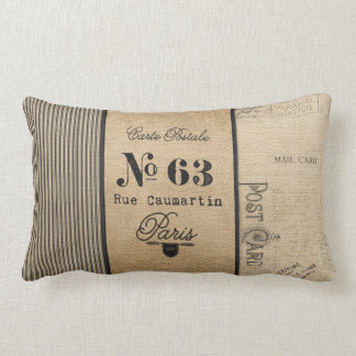 French Postage Burlap Vintage Lumbar Cushion