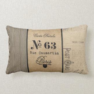 French Postage Burlap Vintage Lumbar Cushion