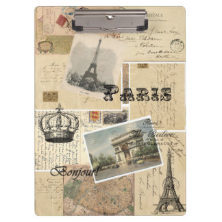 French Postcard Collage Clipboard
