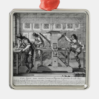 French printing press, 1642 christmas ornament