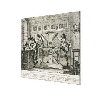 French printing press, 1642 (engraving) canvas print