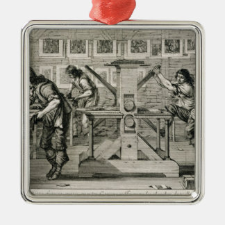 French printing press, 1642 (engraving) Silver-Colored square decoration
