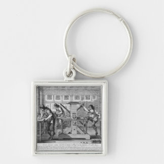 French printing press, 1642 Silver-Colored square key ring