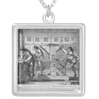 French printing press, 1642 silver plated necklace