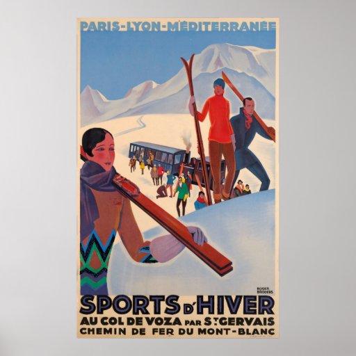 French Promotional Ski Vintage Poster