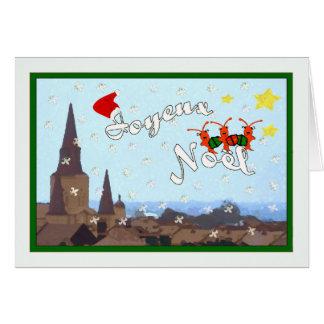 French Quarter Caroling Crawfish Christmas (green) Greeting Card