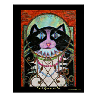 French Quarter Jazz Cat Poster