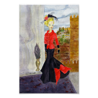 French Quarter:  MatisseFashion Watercolor Poster