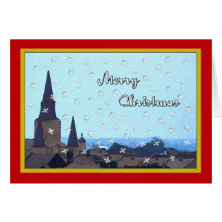 French Quarter Roof Top Acene Christmas Greeting Card