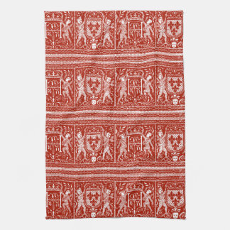 French Red and White Medieval Pattern Monogram H Hand Towels