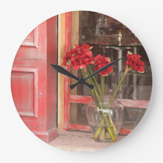 French Red Flower Large Clock