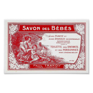 French red soap label vintage illustration poster