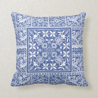 French Renaissance Blue White Lace Flowers Birds Cushion