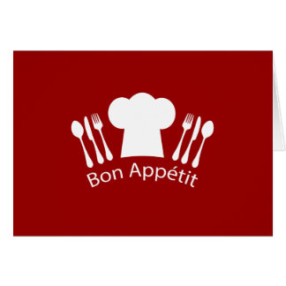 French Restaurant Chefs Hat and Silverware Greeting Card