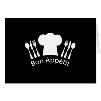 French Restaurant Chefs Hat for Gourmet Greeting Card