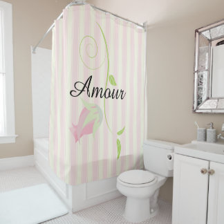 French Retro Amour Shower Curtain
