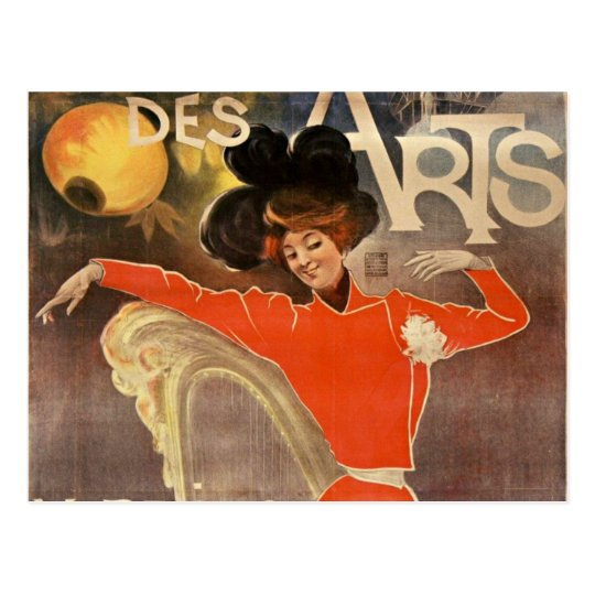 """french retro style post card """"cabaret of arts """""""