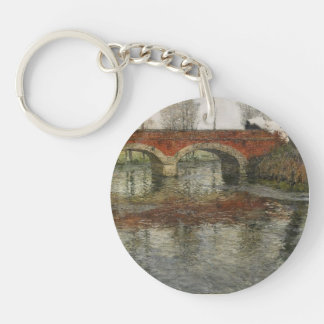 French River Landscape , Bridge by Frits Thaulow Keychains