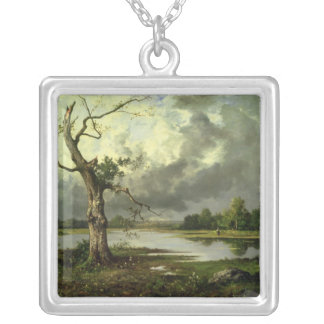 French River Landscape Silver Plated Necklace