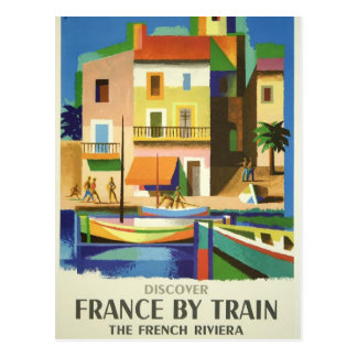 French Riviera by Train Travel Poster Postcard