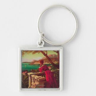French Riviera Travel Poster 2 Keychains