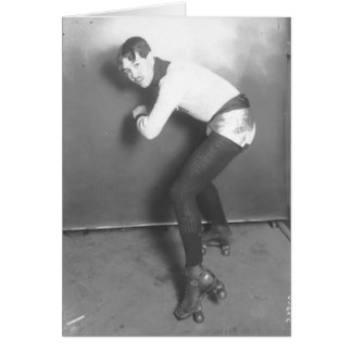 French roller-skater in silver hotpants card