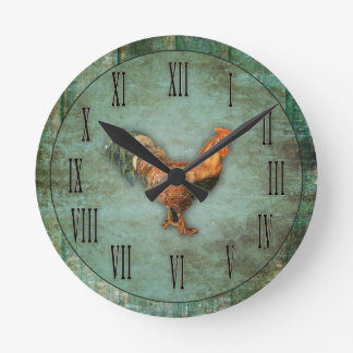 French Rooster and Faux Wood Round Clock