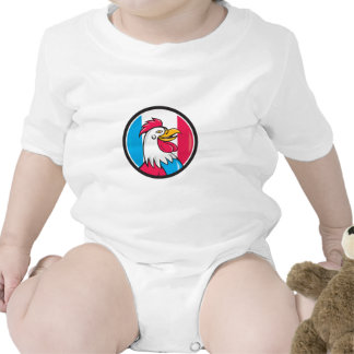 French Rooster Head France Flag Circle Cartoon Rompers