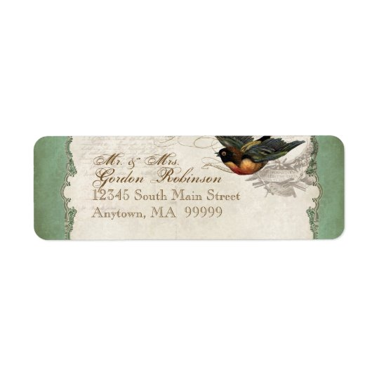 French Rose Love Birds Vintage Lace - Apple Green Return Address Label