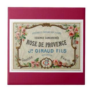 French Rose Parfum Label Small Square Tile