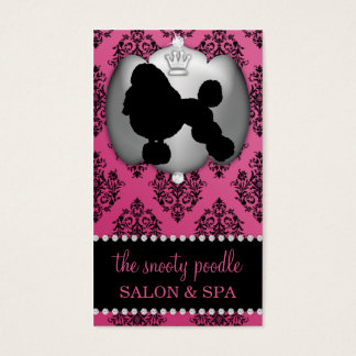 French Rose Pink Jeweled Damask Dog Grooming/Spa Business Card