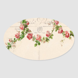 French rose swag oval sticker