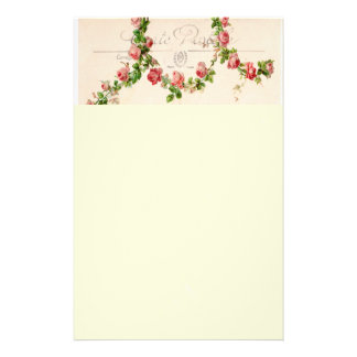 French rose swag stationery