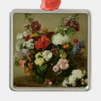 French Roses and Peonies, 1881 Silver-Colored Square Decoration