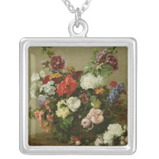 French Roses and Peonies, 1881 Silver Plated Necklace