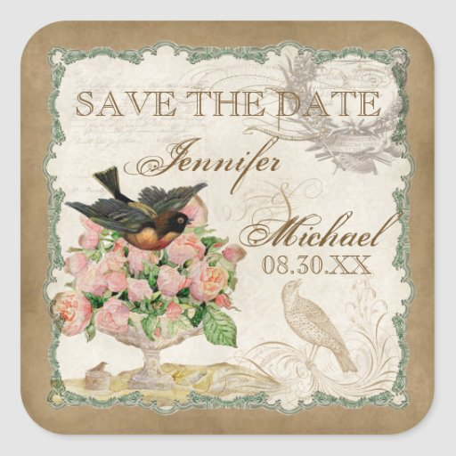 French Roses Love Birds Vintage Lace - Mocha Stickers