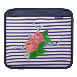 French sailor stripes and pink roses iPad sleeve