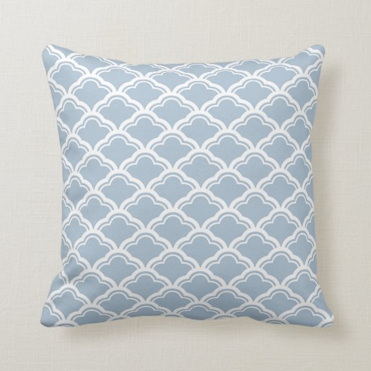 French Scallop Pattern in Light Blue Throw Pillow