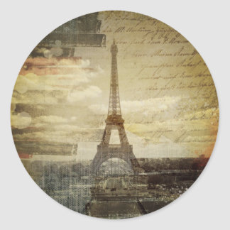 french scripts Modern Vintage Paris Eiffel Tower Classic Round Sticker