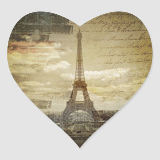 french scripts Modern Vintage Paris Eiffel Tower Heart Sticker